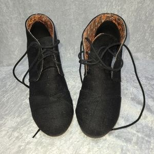 Soda black heeled booties in great condition.